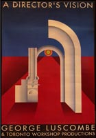 poster of arch on red background