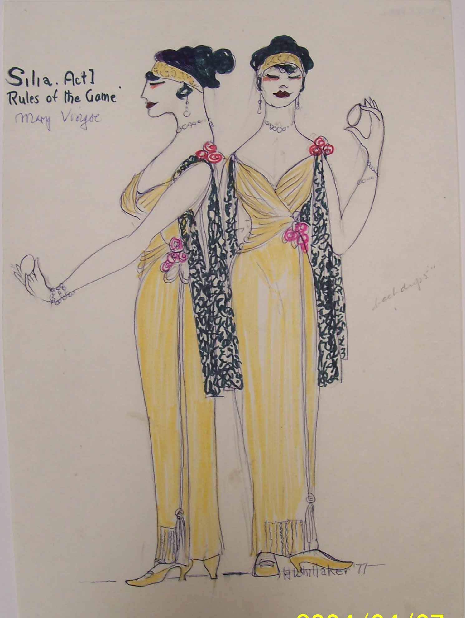 Whittaker costume design for SIllia in Rules of the Game